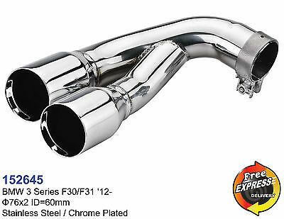 Exhaust tips dual tailpipe trims for BMW 3 series F30 F31 S/Steel Chromed 152645