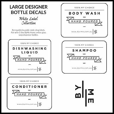 Designer bottle labels / decals - White label collection (Large)