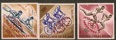 Guinea Sg439/41 1964 Olympic Games O/print In Red Mnh