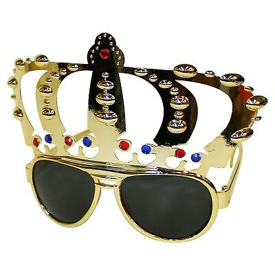 Silver King Crown Novelty Fancy Dress Stag Do Party Sunglasses