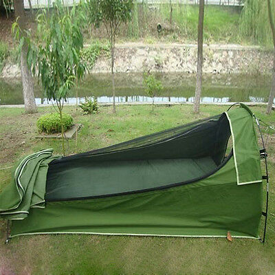 Camping Outdoor Single Deluxe Canvas Swag Mesh Tent 210X131X86cm