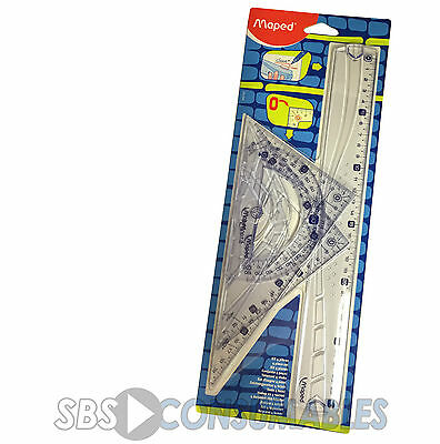 Maped Geometry Set 4 Piece 30cm Ruler Protractor Set Squares, Maths Exam School