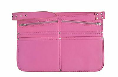 Pink Travel Bag Real Leather Money Belt Market Traders Shoulder Strap Cash Bag