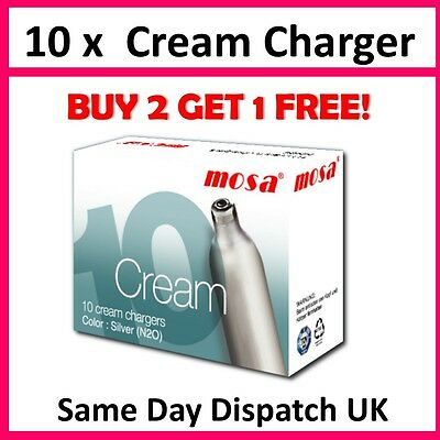 10 x 8g Whipped Cream Chargers Nitrous Oxide Whipper N2O NOS NOZ Canister UK