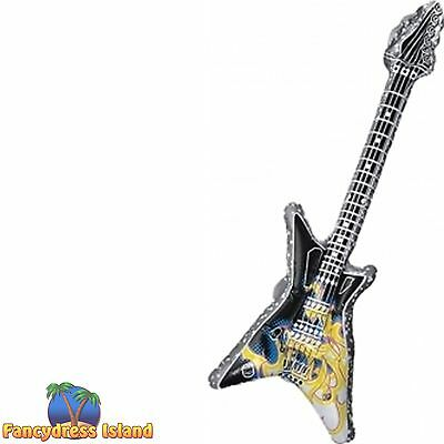 80S ROCK STAR INFLATABLE GUITAR - mens womens fancy dress costume accessory