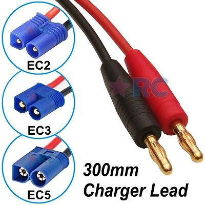 LiPo Battery Charger Lead 4mm Banana Bullet to EC2 EC3 or EC5 Silicone Wire 30cm