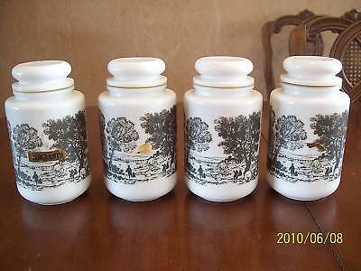 4 Vintage Milk White Glass Kitchen Canisters 7 1/2""