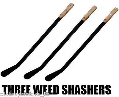 3 x WEED SLASHER 800 mm GARDENING CLEAR GRASS STEEL WOODEN HANDLE HAND HELD U211