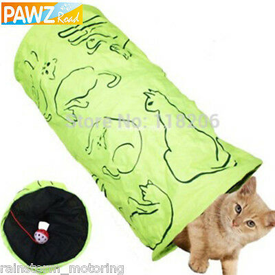 Cat Play Tunnel NEW Green Tube Kitten Pet Toy Pop Up Crinkly With Ball