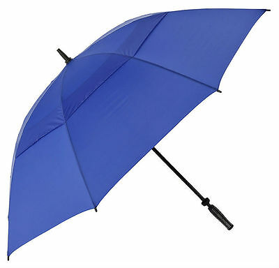 Large Golf Umbrella with Windproof Storm Vented Canopy & Fibreglass Frame - Blue