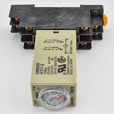 (1 PC) H3Y-2 Omron 120VAC Timer Relay DPDT 8 Pin 5A (10 Sec) with Socket Base