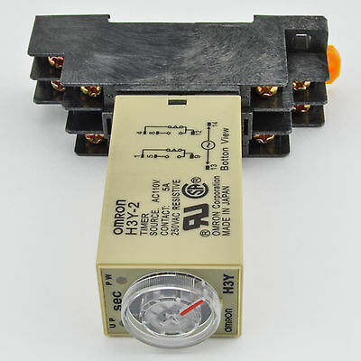 (1 PC) H3Y-2 Omron 24VAC Timer Relay DPDT 8 Pin 5A (10 Sec) with Socket Base