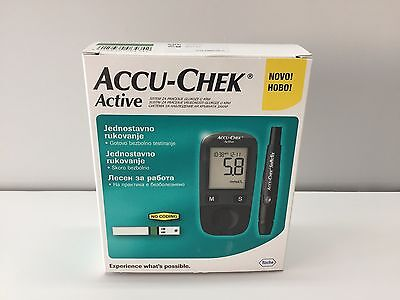 New Roche Accu-Chek Active Blood Glucose Meter Monitor No coding  + Test Strips