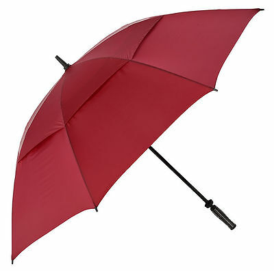 Big Golf Umbrella with Windproof Vented Canopy & Fibreglass Frame - Burgundy Red