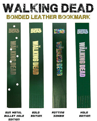 WALKING DEAD COMIC BOOKMARK, Bonded leather, Gold, Silver, Metal, Holo foil