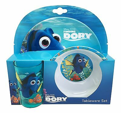 Disney Finding Dory | Nemo 3pc Melamine Tumbler, Bowl & Plate Mealtime Set