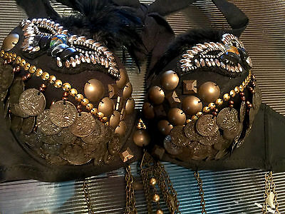 Professional Tribal Belly Dance Feather Bra Top Coins Feather S/M Great