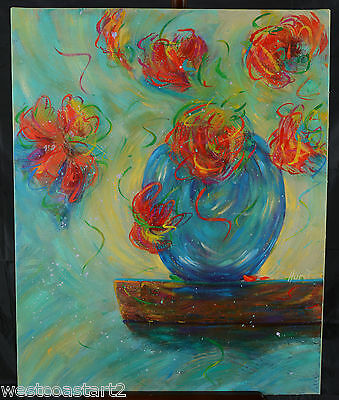 "Marilyn Hurst Original 30x24"" Painting Canadian Listed Artist Floral Flowers"