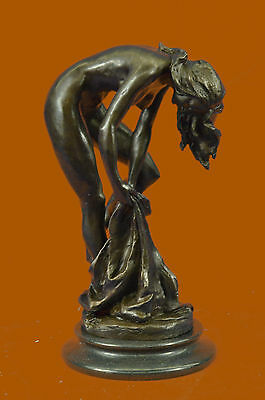 Original French Artist Jean Patoue Nude Female Standing on Rock Bronze Sculpture