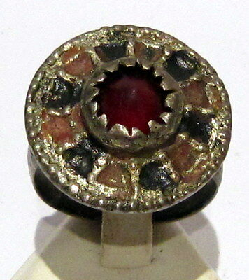 Amazing Large And Huge Post-Medieval Silver Ring With Enamel And Red Stone # 531