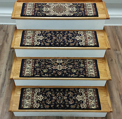 "Rug Depot 15 Traditional Carpet Stair Treads 31"" x 9"" - Navy Poly High Quality"