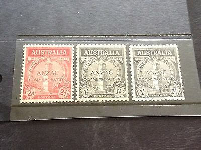 Set Of Mint Unhinged Anzac Stamps Plus A Very Fine Used Variety
