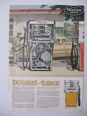 1963 WAYNE GASOLINE PUMPS Double-Take Service Station Two Sided Page Print Ad