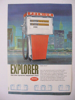1963 TOKHEIM 952 AT EXPLORER Pump Gas Dynamic Dispenser Two Sided Page Print Ad