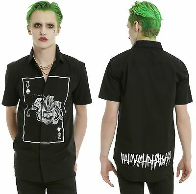 "Joker ""Ha Ha Ha "" Short Sleeved Woven Shirt For Men ~Dc Comics~ Suicide Squad"