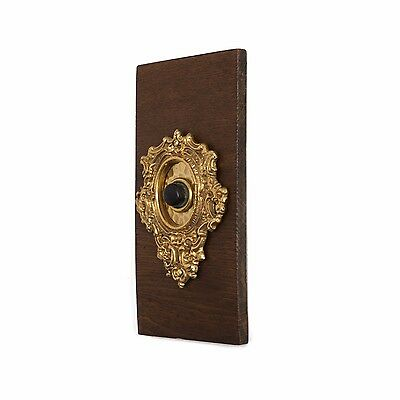 Antique Floral Push Button Doorbell w/ Backplate Door Bell Electric Brass Vtg