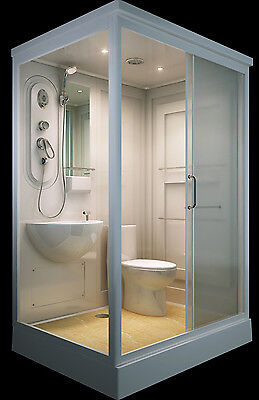 ALL IN ONE Flat Pack Modular Shower Room,Toilet, Basin Assembled size 140 x 110.