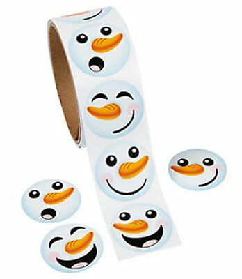 10 Rolls ~ Happy Snowman Face Stickers ~ wholesale lot ~ 1000 Stickers (9/1358)