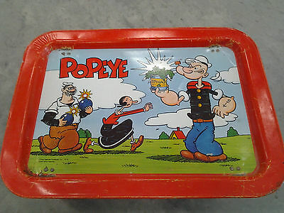 1979 POPEYE OLIVE OYL BRUTUS TIN TV BREAKFAST TRAY King Syndicate