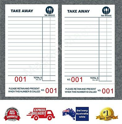 100 Take-Away Docket Books - Single Page (100 page per book BIG numbers) 15%OFF