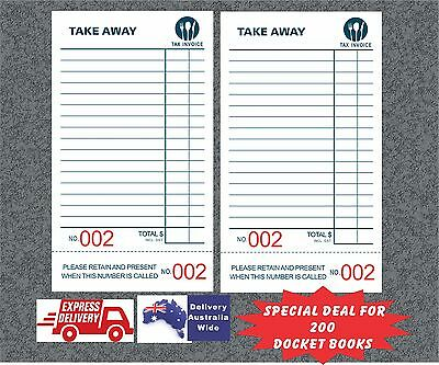 200 Take-Away Docket Books - Single Page (100 page per book with BIG numbers)