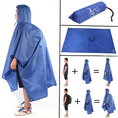 Outdoor Raincoat Camping Hiking Tent Mat Backpack Rain Cover Hoodie Poncho Cape