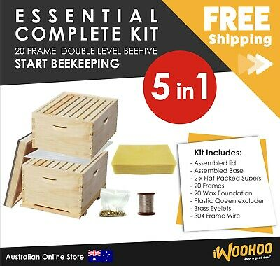 5 in 1 Essentials Complete 20 Frame Double Level Bee Hive Starter Kit Beehive