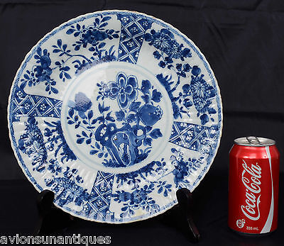 Chinese Porcelain Molded Kangxi Blue White Plate 17/18th Century Qing Dynasty