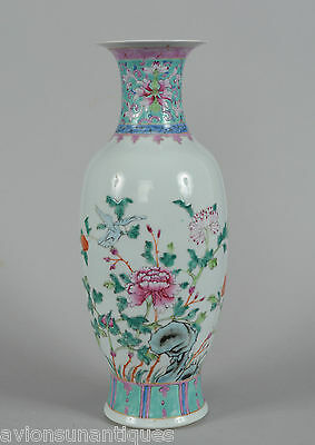c1900 Late Qing Dynasty Chinese Porcelain Vase Turquoise Pink Chrysanthemum