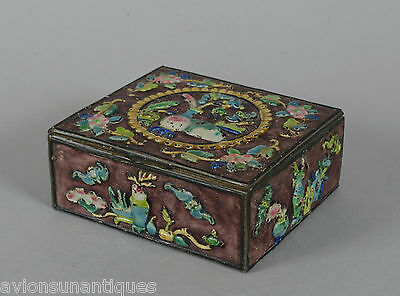 Vintage Chinese Enamelled Wood Lined Brass Box