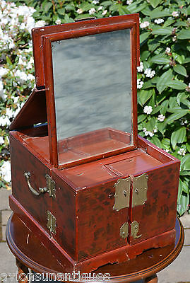 Antique Chinese Travel Dressing Box with Folding Mirror Gilt Decorated Lacquer