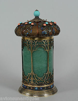 Chinese Gold Silver Tea Caddy Green Jade Cloisonne Enamel Turquoise Red Coral