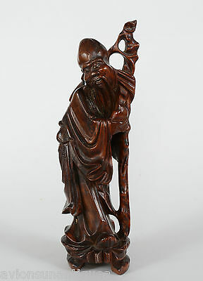 Chinese Carved Wood Figure God of Longevity Shou Old Man with Peach & Staff