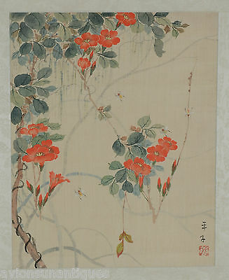 Vintage Chinese Watercolour Painting on Silk Signed Bees and Red Flowers