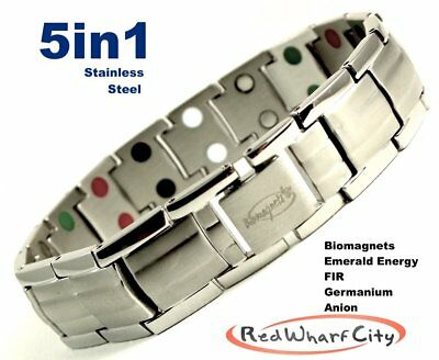 MENS SILVER 5in1 MAGNETIC ENERGY STAINLESS STEEL POWER BRACELET PAIN RELIEF