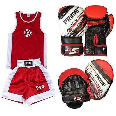 Red Kids Set 3 Pcs Boxing Uniform + Boxing Glove 1012 + Focus Pad 1106 (SET-13)