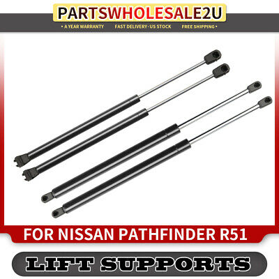 4x Hatch+Rear Window Lift Supports Gas Struts for Nissan Pathfinder R51 2005-13
