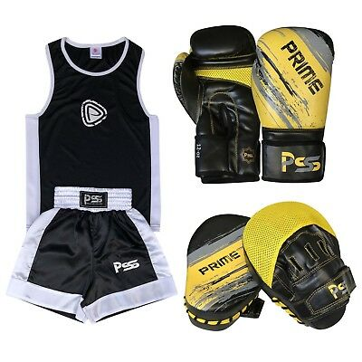 Black Kids Set 3 Pcs Boxing Uniform Boxing Glove 1012 Focus Pad 1106 (SET - 12)