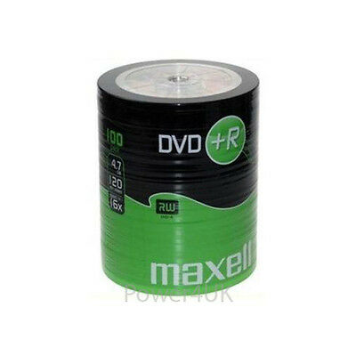 Maxell DVD+R 16x 4.7GB Blank DVDs Media Disks 100 Shrink Wrap Pack