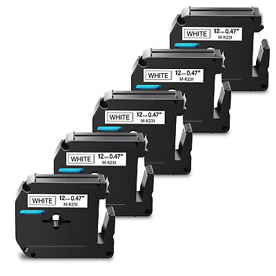 5PK For Brother P-touch PT-65 PT85 Label Tape M-K231 MK231 M-231 Black on White